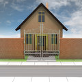 Brick house with opened iron fence and blue sky illustration Royalty Free Stock Photo