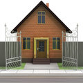 Brick house with opened iron fence front view illustration Stock Images