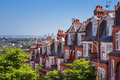 Brick houses of Muswell Hill and panorama of London with Canary Wharf, London, UK Royalty Free Stock Photo
