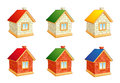 Brick houses set of icons eps Stock Photos