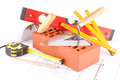 Brick and Mason construction tools Stock Image
