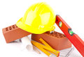 Brick and Mason construction tools Stock Photo
