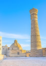 The brick minaret kalyan great is symbol of bukhara uzbekistan Royalty Free Stock Image