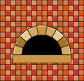 Brick oven illustration of with empty hearth Stock Photos