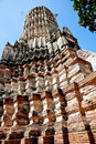 Brick pagoda in wat chai wattanaram Royalty Free Stock Photography