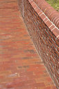 Brick sidewalk and wall Stock Photo