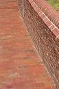 Brick sidewalk and wall Stock Photo