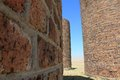 Brick silo round and mortar structures at an old grain farm Stock Image