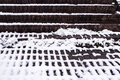 Brick steps and snow pattern - winter abstract 2 Royalty Free Stock Photo