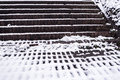 Brick steps and snow pattern - winter abstract 1 Royalty Free Stock Photo