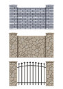 Brick and stone fence Stock Image