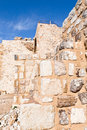 Brick stone inner wall of Kerak castle, Jordan Royalty Free Stock Photography
