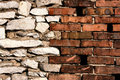 Brick and stone walls joint Royalty Free Stock Photo