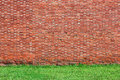 Brick wall background with grass red green Royalty Free Stock Photography
