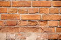 Brick wall background old of red hard light Royalty Free Stock Images