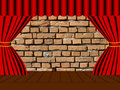 Brick wall behind the curtain Stock Images