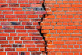 Brick wall with a crack Royalty Free Stock Image