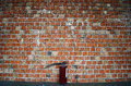 Brick Wall with fire extinguisher Royalty Free Stock Photo