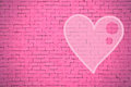 Brick wall graffiti heart, valentines day background Royalty Free Stock Photo