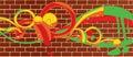 Brick wall graffitti Royalty Free Stock Photo