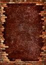 Brick wall grungy frame Royalty Free Stock Photo