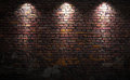 Brick wall with lights old stage Stock Image