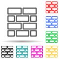 Brick wall multi color style icon. Simple thin line, outline vector of web icons for ui and ux, website or mobile application Royalty Free Stock Photo