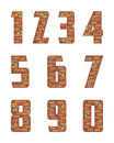 Brick wall numeral stylized in the form of a bricklaying Stock Image