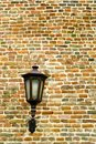 Brick wall with old metal lamp on kalemegdans ancient fortress in belgrade Royalty Free Stock Photo