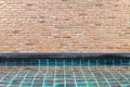 Brick wall and pool Royalty Free Stock Photo
