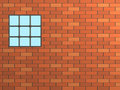 Brick wall with a window, closed by a lattice Stock Photo