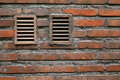 Brick wall with windows fragment of old masonry two Royalty Free Stock Photography