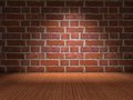 Brick wall wood floor Stock Photo