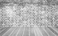 brick wall and wood floor texture Royalty Free Stock Photo