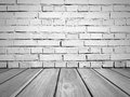 Brick Wall And Wooden Floor. Old Vintage Room