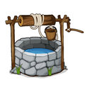 Brick well with blue water and wooden bucket Royalty Free Stock Photo