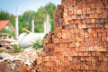 Brickbat bricks for the construction of residential homes Stock Photos