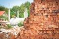 Brickbat bricks for the construction of residential homes Stock Photos