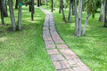 Brickbat path on green grass in garden Stock Photography