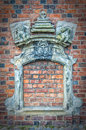 A bricked up church window from the danish town of helsingor Royalty Free Stock Images