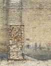 Bricked up window with grunge brick wall Royalty Free Stock Photography