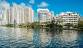 Brickell key in biscayne bay in downtown miami Royalty Free Stock Photos