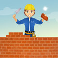 Bricklayer builds the wall Royalty Free Stock Photo