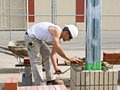 Bricklayer Laying Brick Royalty Free Stock Photos