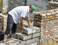 Bricklayer at work Royalty Free Stock Photo