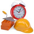 Bricks hard hat and alarm clock isolated render on a white background Royalty Free Stock Photos