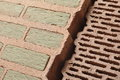 Bricks with insulation two types of ceramic mineral wool and air gaps Stock Photography