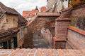 Bricks roofs a arches and located in sibiu romania Stock Photo