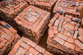 Bricks a top view of stacked ready for the builder to use on compelting the new house Royalty Free Stock Photos