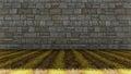 Bricks Wall and Grass Floor